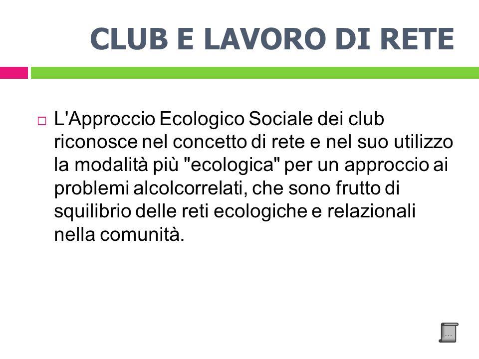 CLUB E LAVORO DI RETE L Approccio Ecologico Sociale dei club riconosce nel concetto di rete e nel suo utilizzo la modalità più ecologica per un approccio ai problemi alcolcorrelati, che sono frutto di squilibrio delle reti ecologiche e relazionali nella comunità.