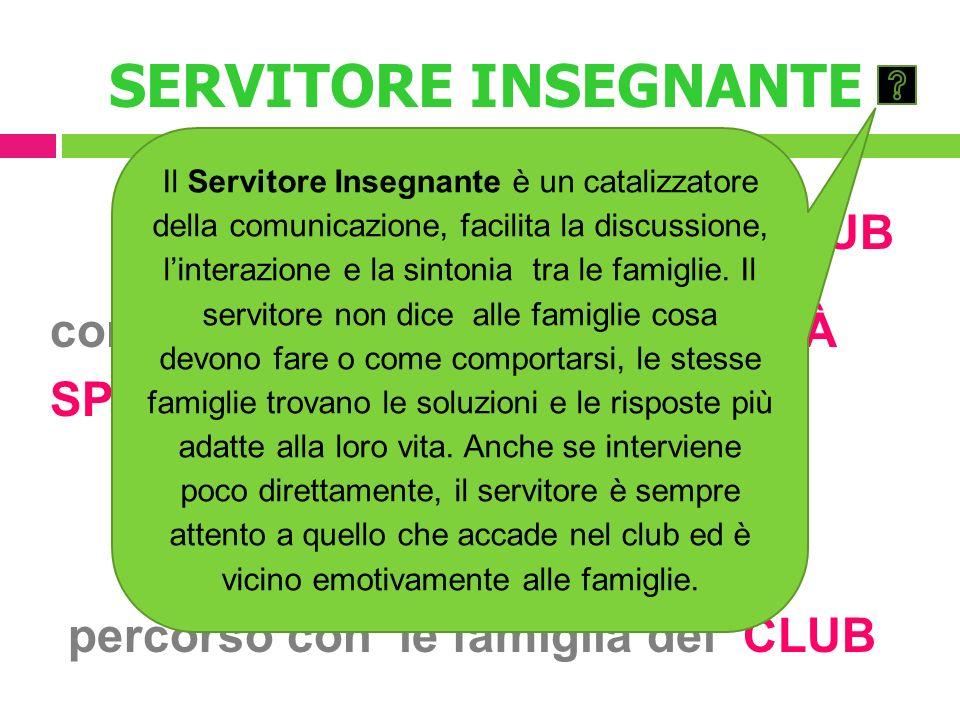 SERVITORE INSEGNANTE è un MEMBRO del CLUB con RUOLO e RESPONSABILITÀ SPECIFICHE una PERSONA che CONDIVIDE il percorso con le famiglia del CLUB Il Serv