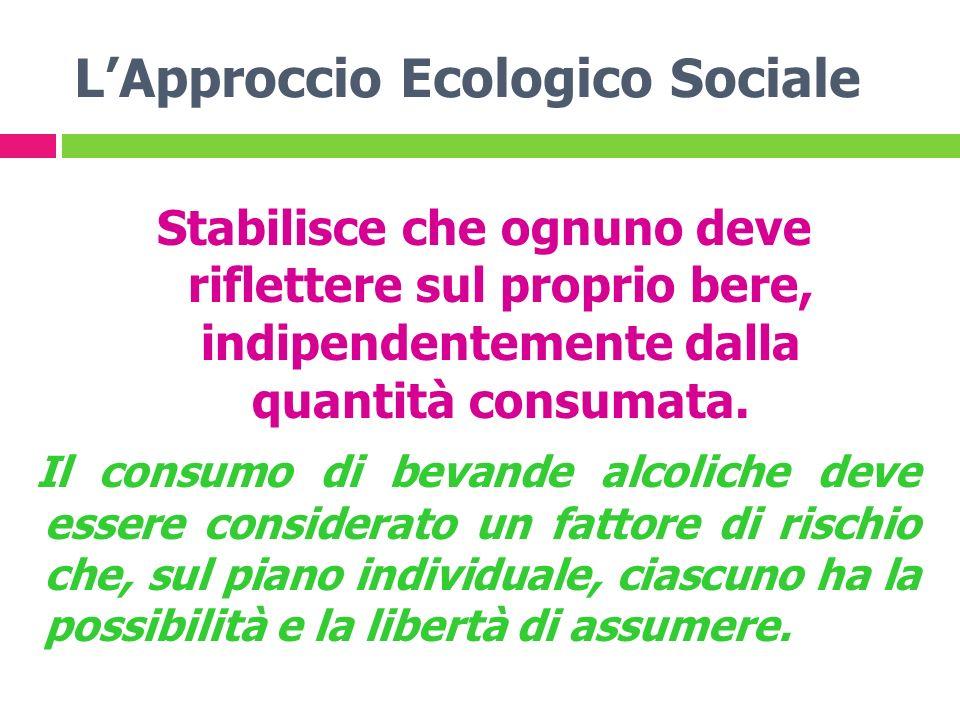 LApproccio Ecologico Sociale Stabilisce che ognuno deve riflettere sul proprio bere, indipendentemente dalla quantità consumata. Il consumo di bevande