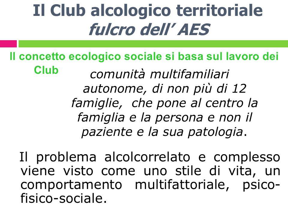 Il Club alcologico territoriale fulcro dell AES ll concetto ecologico sociale si basa sul lavoro dei Club Il problema alcolcorrelato e complesso viene visto come uno stile di vita, un comportamento multifattoriale, psico- fisico-sociale.