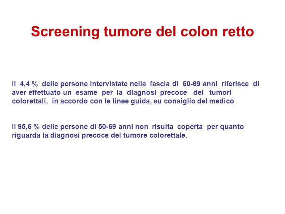 Screening tumore del colon retto Il 4,4 % delle persone intervistate nella fascia di 50-69 anni riferisce di aver effettuato un esame per la diagnosi