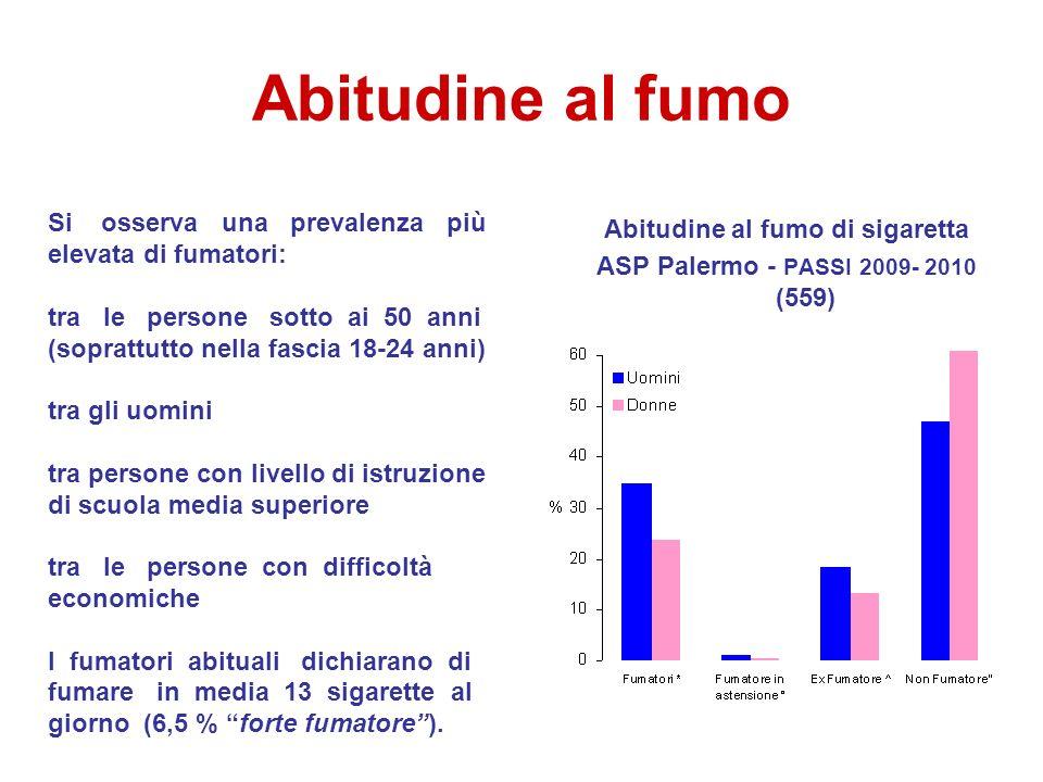 Abitudine al fumo Abitudine al fumo di sigaretta ASP Palermo - PASSI 2009- 2010 (559) Si osserva una prevalenza più elevata di fumatori: tra le person
