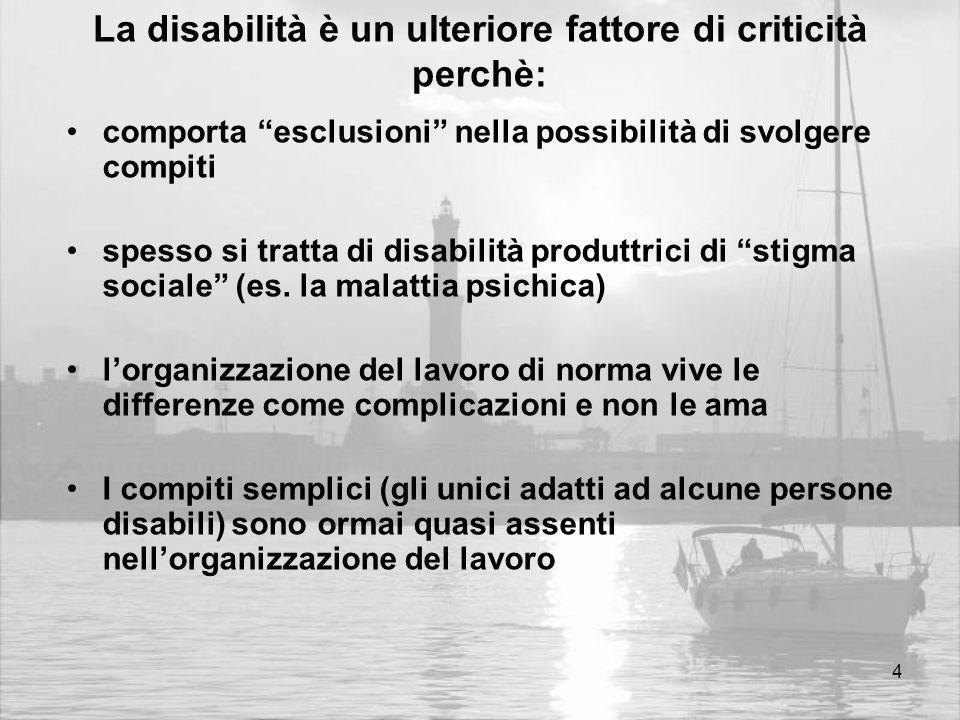 4 La disabilità è un ulteriore fattore di criticità perchè: comporta esclusioni nella possibilità di svolgere compiti spesso si tratta di disabilità produttrici di stigma sociale (es.
