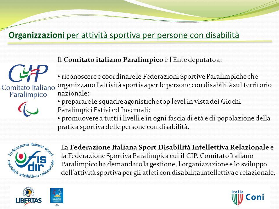 Il Comitato italiano Paralimpico è l'Ente deputato a: riconoscere e coordinare le Federazioni Sportive Paralimpiche che organizzano l'attività sportiv