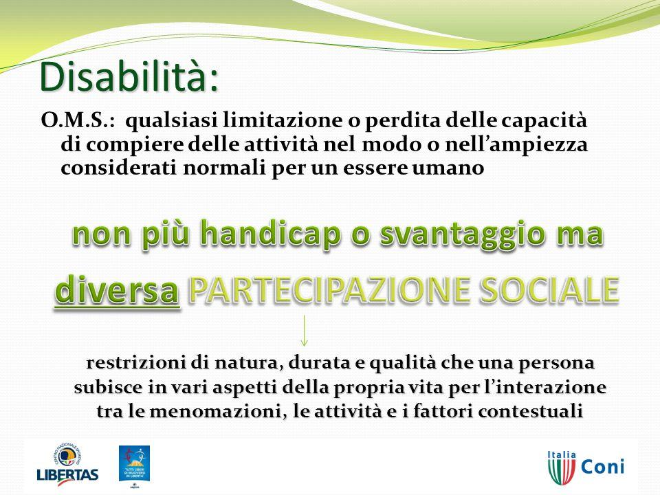 Disabilità: O.M.S.: qualsiasi limitazione o perdita delle capacità di compiere delle attività nel modo o nellampiezza considerati normali per un esser