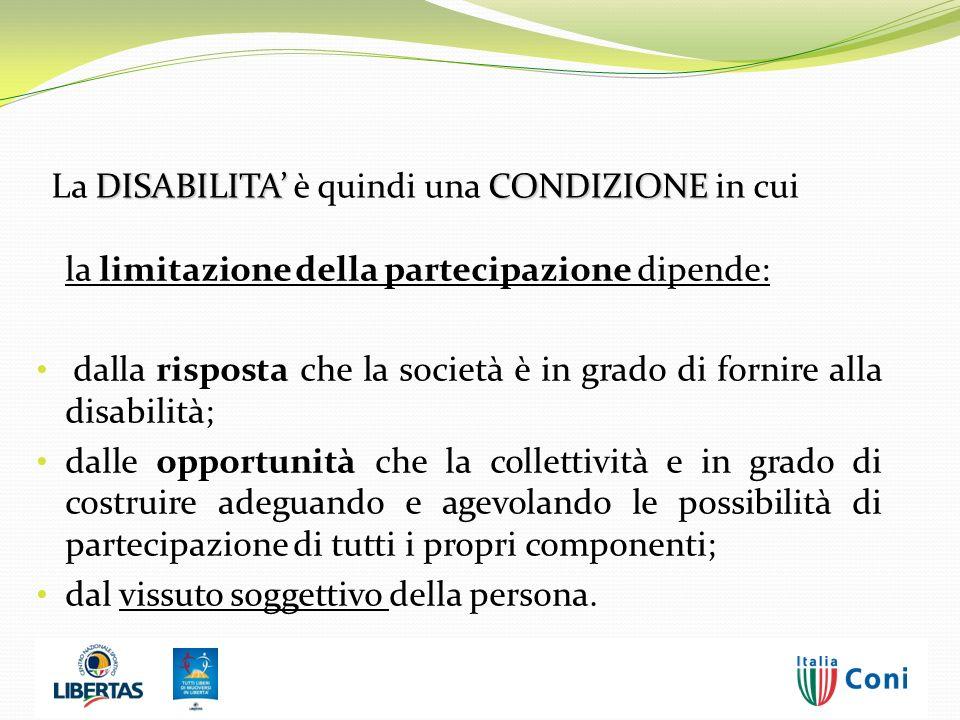 la limitazione della partecipazione dipende: dalla risposta che la società è in grado di fornire alla disabilità; dalle opportunità che la collettivit