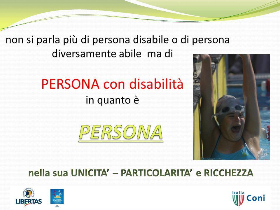 non si parla più di persona disabile o di persona diversamente abile ma di PERSONA con disabilità in quanto è