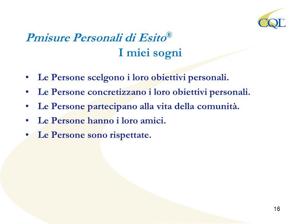 Pmisure Personali di Esito ® I miei sogni Le Persone scelgono i loro obiettivi personali.
