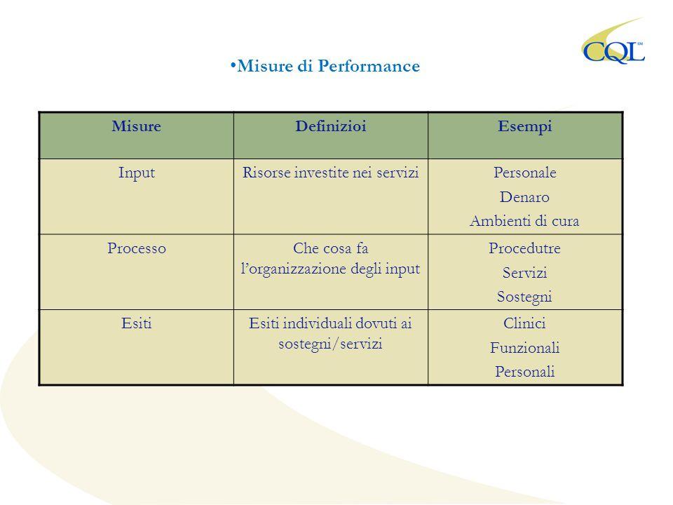 MisureDefinizioiEsempi InputRisorse investite nei serviziPersonale Denaro Ambienti di cura ProcessoChe cosa fa lorganizzazione degli input Procedutre Servizi Sostegni EsitiEsiti individuali dovuti ai sostegni/servizi Clinici Funzionali Personali Misure di Performance
