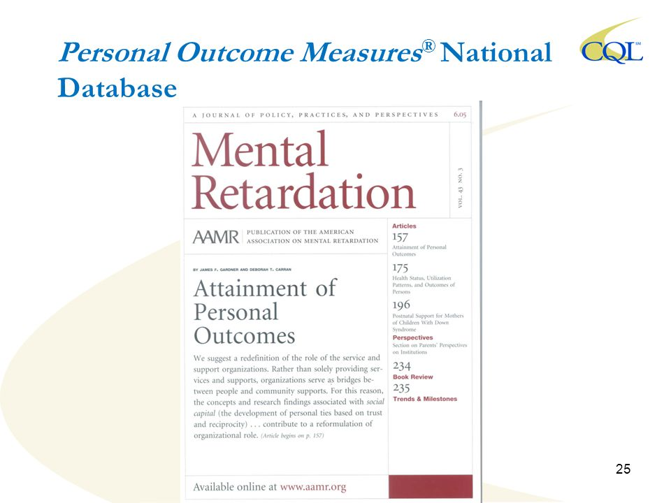 Personal Outcome Measures ® National Database 25
