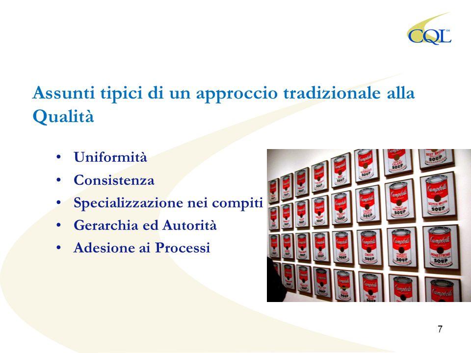 Assunti tipici di un approccio tradizionale alla Qualità Uniformità Consistenza Specializzazione nei compiti Gerarchia ed Autorità Adesione ai Processi 7