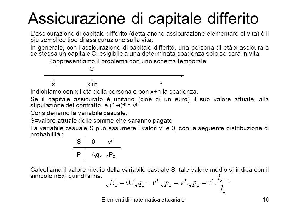 Elementi di matematica attuariale16 Assicurazione di capitale differito Lassicurazione di capitale differito (detta anche assicurazione elementare di