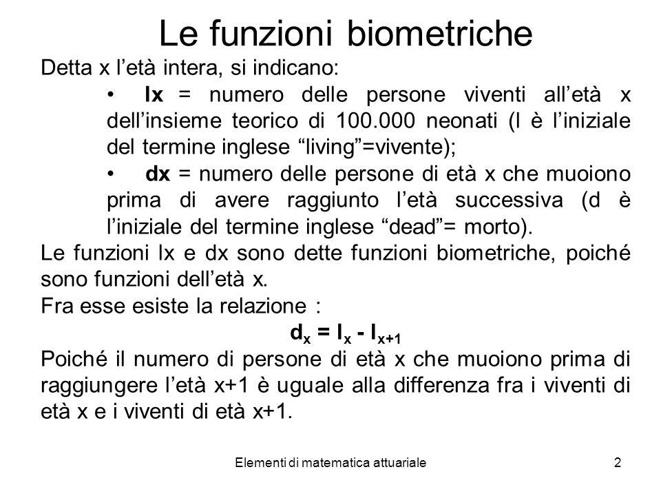 Elementi di matematica attuariale2 Le funzioni biometriche Detta x letà intera, si indicano: lx = numero delle persone viventi alletà x dellinsieme te