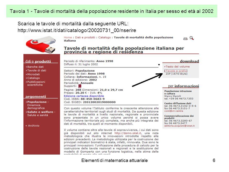 Elementi di matematica attuariale6 Tavola 1 - Tavole di mortalità della popolazione residente in Italia per sesso ed età al 2002 Scarica le tavole di