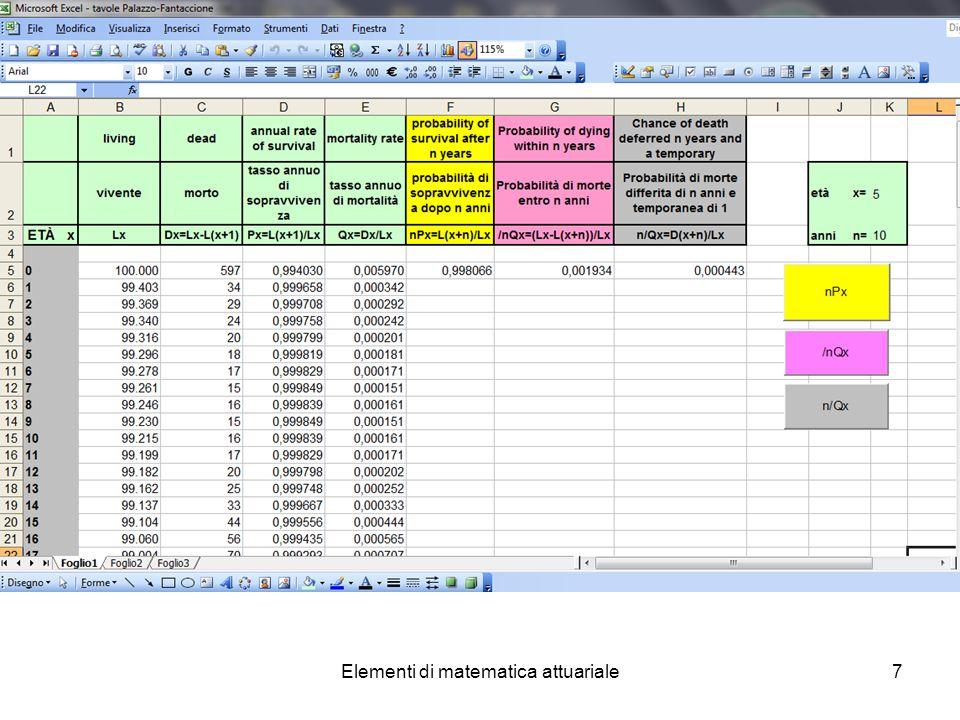 Elementi di matematica attuariale18 Esercizio n.