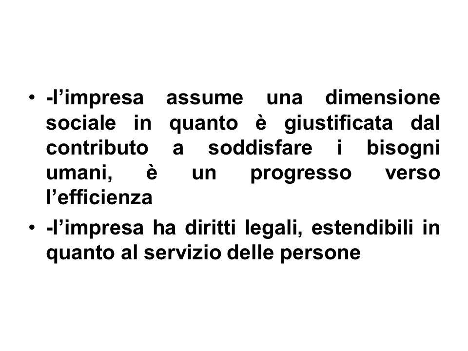 -limpresa assume una dimensione sociale in quanto è giustificata dal contributo a soddisfare i bisogni umani, è un progresso verso lefficienza -limpresa ha diritti legali, estendibili in quanto al servizio delle persone