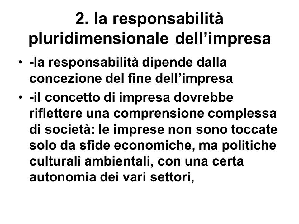 2. la responsabilità pluridimensionale dellimpresa -la responsabilità dipende dalla concezione del fine dellimpresa -il concetto di impresa dovrebbe r