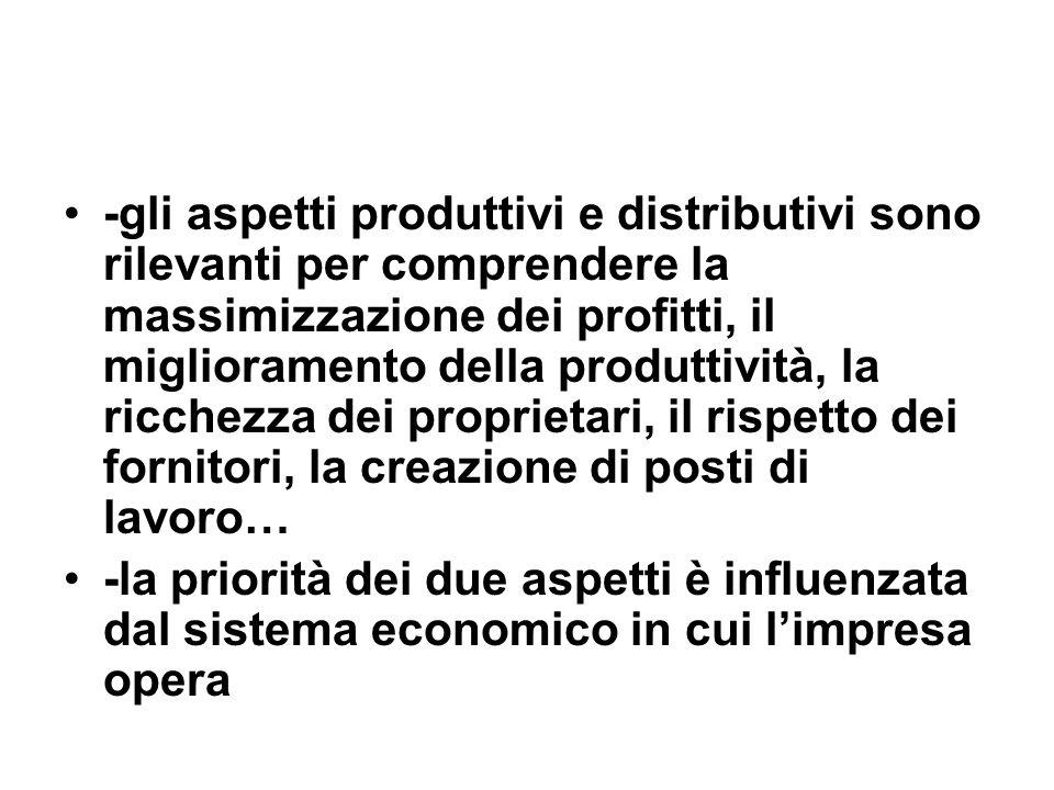 -gli aspetti produttivi e distributivi sono rilevanti per comprendere la massimizzazione dei profitti, il miglioramento della produttività, la ricchezza dei proprietari, il rispetto dei fornitori, la creazione di posti di lavoro… -la priorità dei due aspetti è influenzata dal sistema economico in cui limpresa opera