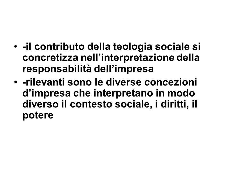 -il contributo della teologia sociale si concretizza nellinterpretazione della responsabilità dellimpresa -rilevanti sono le diverse concezioni dimpresa che interpretano in modo diverso il contesto sociale, i diritti, il potere