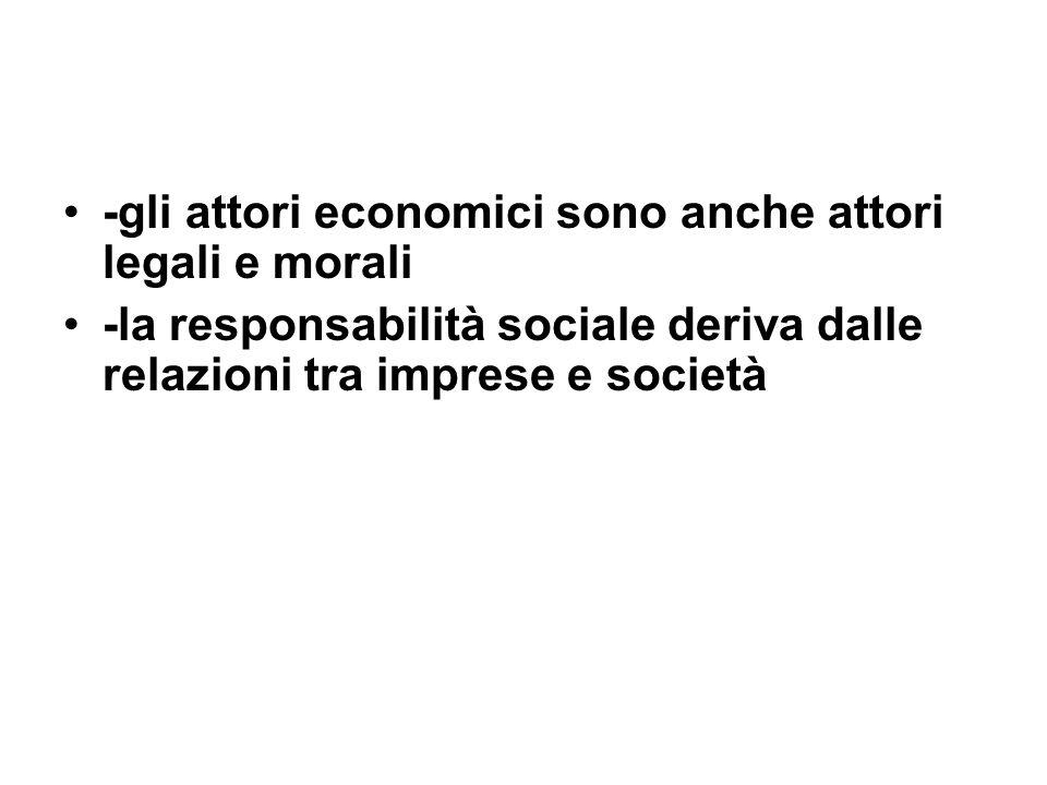 -gli attori economici sono anche attori legali e morali -la responsabilità sociale deriva dalle relazioni tra imprese e società