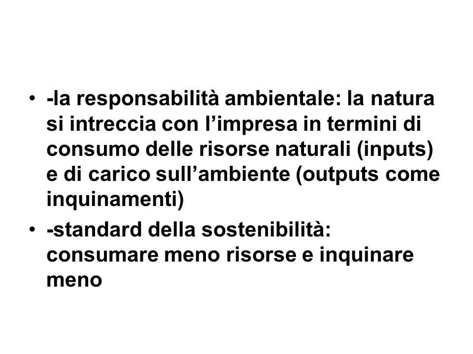 -la responsabilità ambientale: la natura si intreccia con limpresa in termini di consumo delle risorse naturali (inputs) e di carico sullambiente (outputs come inquinamenti) -standard della sostenibilità: consumare meno risorse e inquinare meno