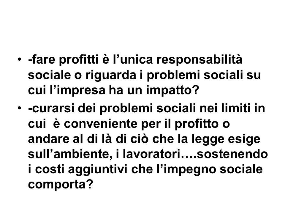 -fare profitti è lunica responsabilità sociale o riguarda i problemi sociali su cui limpresa ha un impatto.