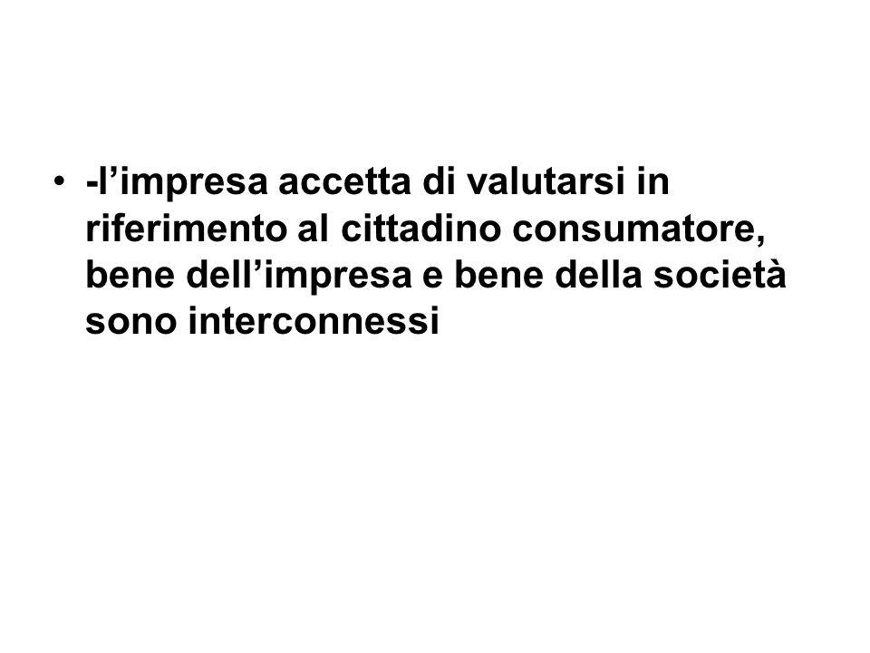 -limpresa accetta di valutarsi in riferimento al cittadino consumatore, bene dellimpresa e bene della società sono interconnessi