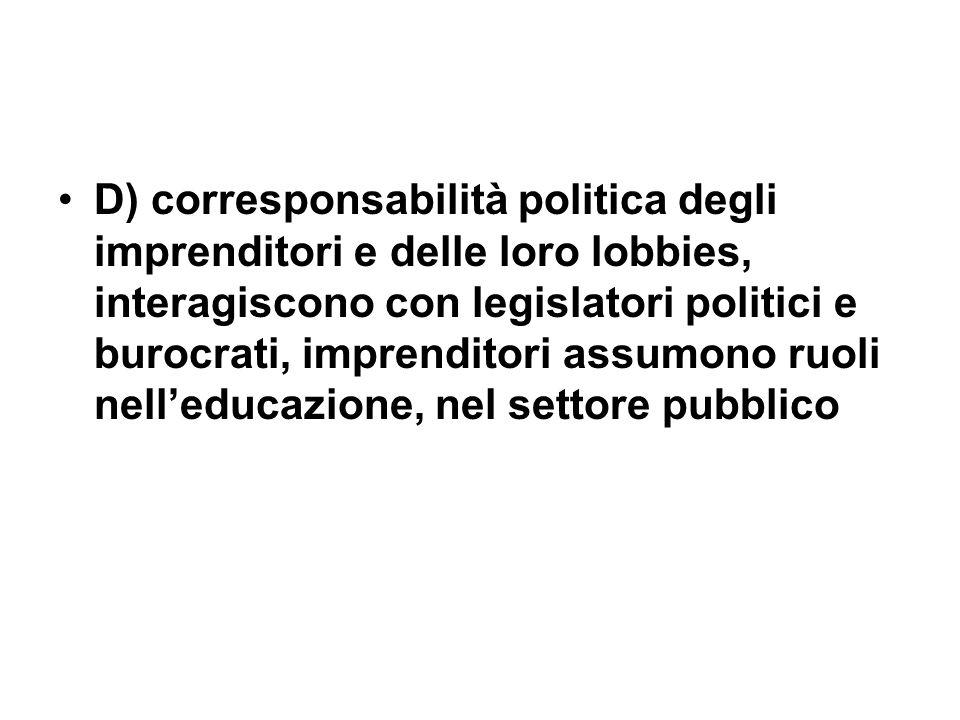 D) corresponsabilità politica degli imprenditori e delle loro lobbies, interagiscono con legislatori politici e burocrati, imprenditori assumono ruoli nelleducazione, nel settore pubblico
