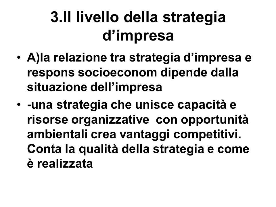 3.Il livello della strategia dimpresa A)la relazione tra strategia dimpresa e respons socioeconom dipende dalla situazione dellimpresa -una strategia che unisce capacità e risorse organizzative con opportunità ambientali crea vantaggi competitivi.