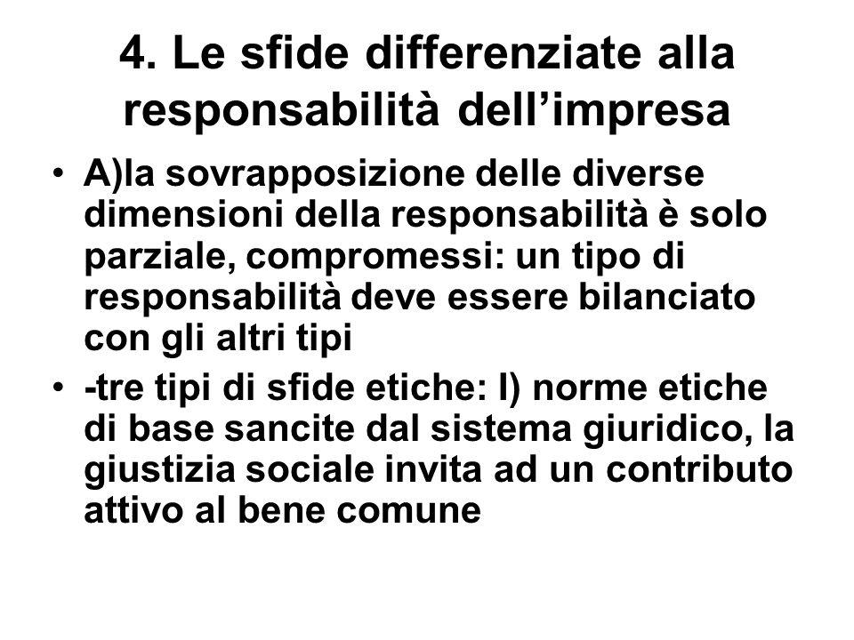 4. Le sfide differenziate alla responsabilità dellimpresa A)la sovrapposizione delle diverse dimensioni della responsabilità è solo parziale, comprome