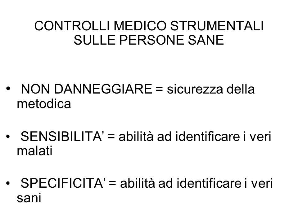 CONTROLLI MEDICO STRUMENTALI SULLE PERSONE SANE NON DANNEGGIARE = sicurezza della metodica SENSIBILITA = abilità ad identificare i veri malati SPECIFI