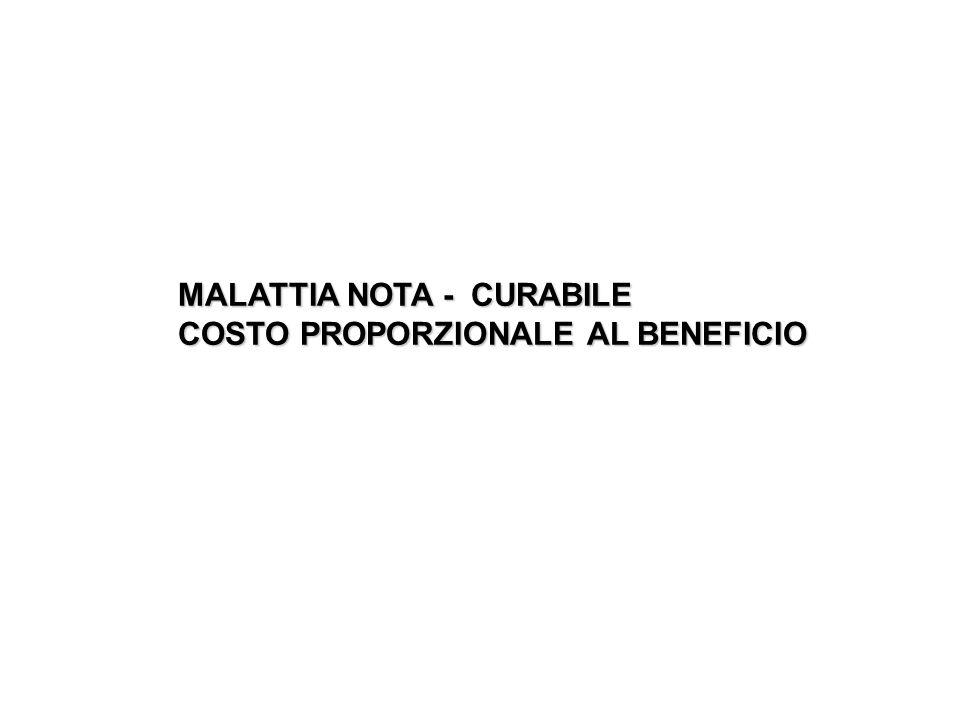 MALATTIA NOTA - CURABILE COSTO PROPORZIONALE AL BENEFICIO