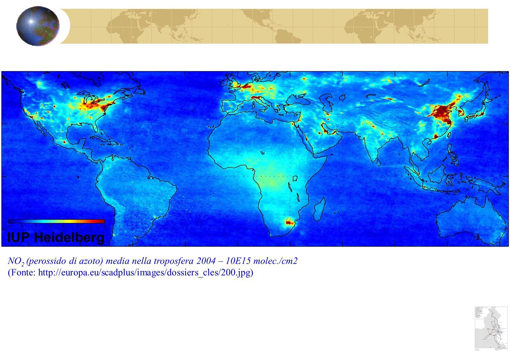 NO 2 (perossido di azoto) media nella troposfera 2004 – 10E15 molec./cm2 (Fonte: http://europa.eu/scadplus/images/dossiers_cles/200.jpg)