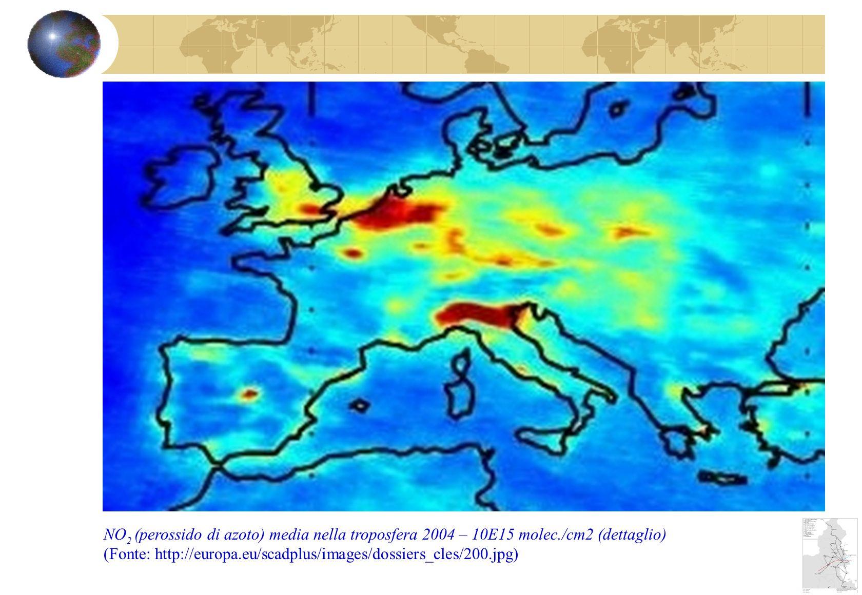 NO 2 (perossido di azoto) media nella troposfera 2004 – 10E15 molec./cm2 (dettaglio) (Fonte: http://europa.eu/scadplus/images/dossiers_cles/200.jpg)