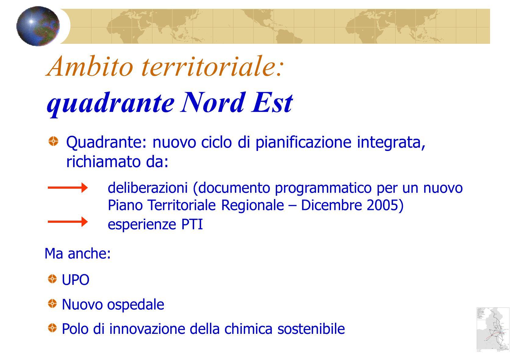 Quadrante: nuovo ciclo di pianificazione integrata, richiamato da: Ambito territoriale: quadrante Nord Est UPO Nuovo ospedale Polo di innovazione della chimica sostenibile deliberazioni (documento programmatico per un nuovo Piano Territoriale Regionale – Dicembre 2005) esperienze PTI Ma anche: