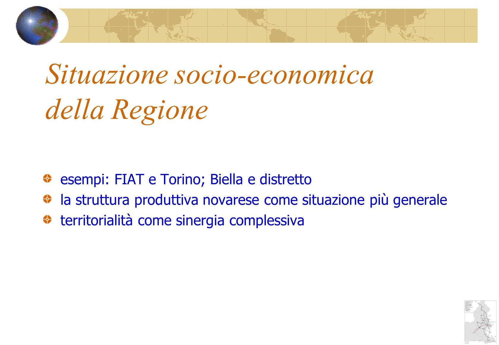 Situazione socio-economica della Regione esempi: FIAT e Torino; Biella e distretto la struttura produttiva novarese come situazione più generale territorialità come sinergia complessiva