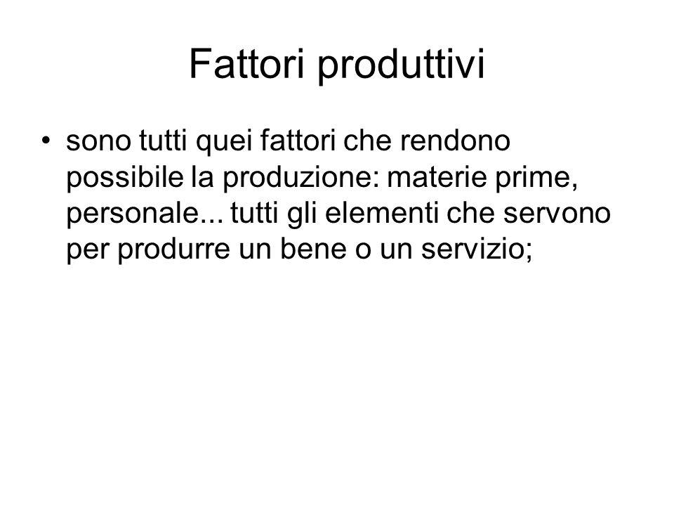 Fattori produttivi sono tutti quei fattori che rendono possibile la produzione: materie prime, personale... tutti gli elementi che servono per produrr