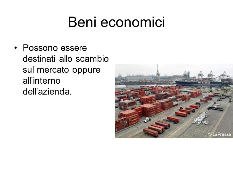 Beni economici Possono essere destinati allo scambio sul mercato oppure allinterno dellazienda.