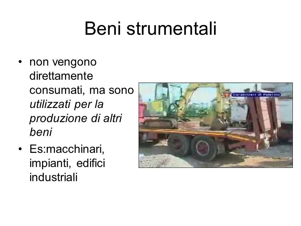 Beni strumentali non vengono direttamente consumati, ma sono utilizzati per la produzione di altri beni Es:macchinari, impianti, edifici industriali
