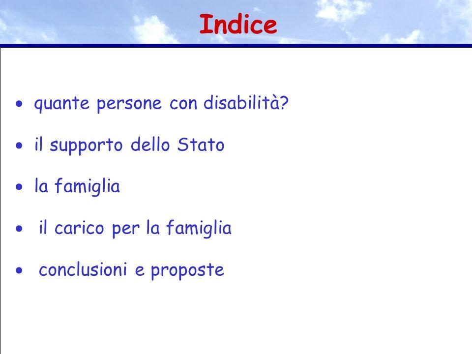 quante persone con disabilità? il supporto dello Stato la famiglia il carico per la famiglia conclusioni e proposte Indice