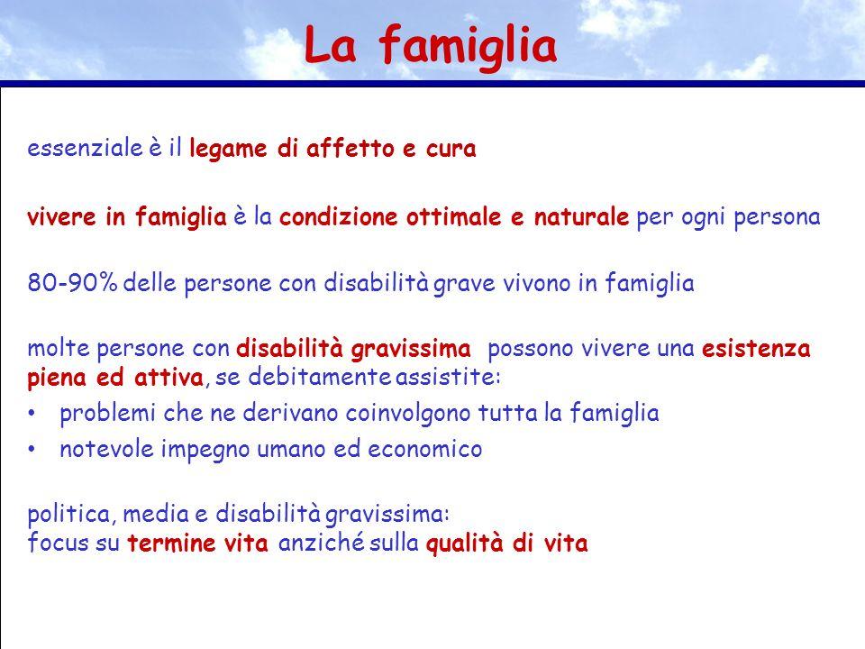 essenziale è il legame di affetto e cura vivere in famiglia è la condizione ottimale e naturale per ogni persona 80-90% delle persone con disabilità g
