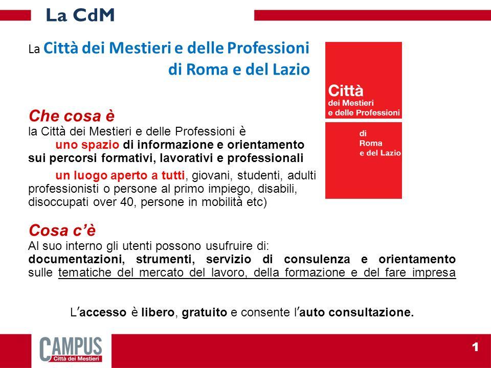 La Città dei Mestieri e delle Professioni di Roma e del Lazio Che cosa è la Citt à dei Mestieri e delle Professioni è uno spazio di informazione e ori