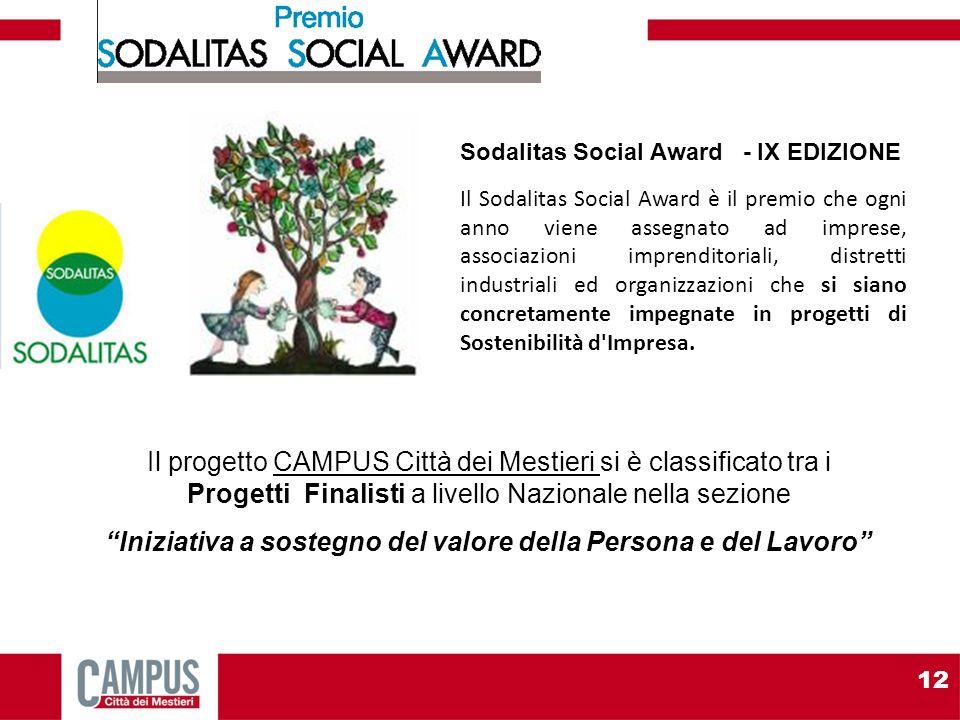 Sodalitas Social Award - IX EDIZIONE Il Sodalitas Social Award è il premio che ogni anno viene assegnato ad imprese, associazioni imprenditoriali, distretti industriali ed organizzazioni che si siano concretamente impegnate in progetti di Sostenibilità d Impresa.
