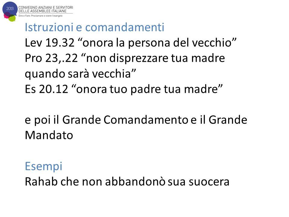 Istruzioni e comandamenti Lev 19.32 onora la persona del vecchio Pro 23,.22 non disprezzare tua madre quando sarà vecchia Es 20.12 onora tuo padre tua madre e poi il Grande Comandamento e il Grande Mandato Esempi Rahab che non abbandonò sua suocera