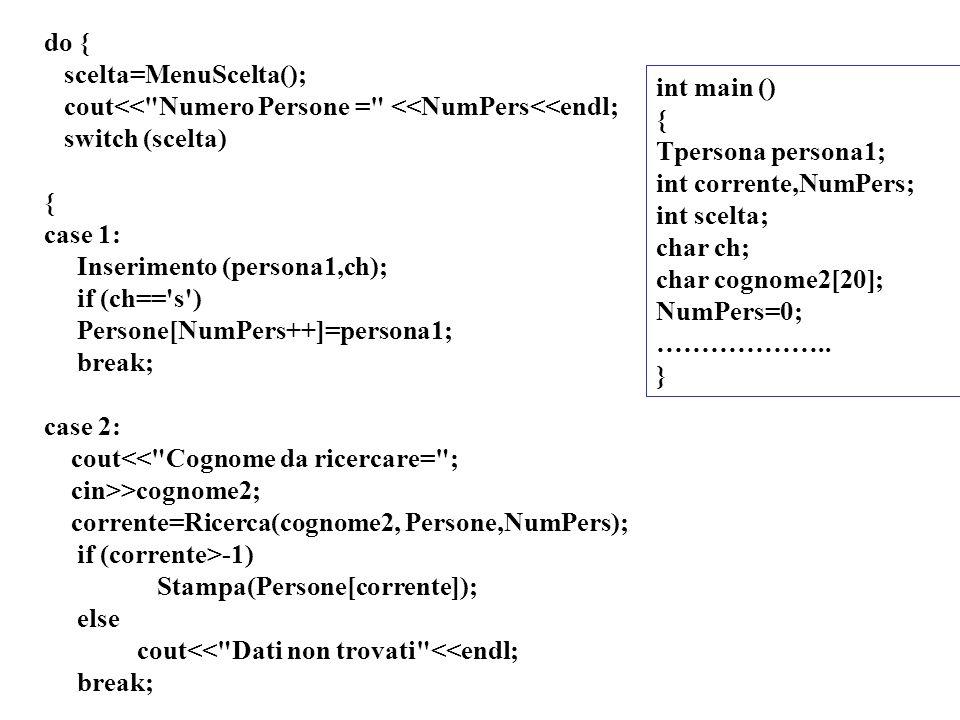 12 do { scelta=MenuScelta(); cout<< Numero Persone = <<NumPers<<endl; switch (scelta) { case 1: Inserimento (persona1,ch); if (ch== s ) Persone[NumPers++]=persona1; break; case 2: cout<< Cognome da ricercare= ; cin>>cognome2; corrente=Ricerca(cognome2, Persone,NumPers); if (corrente>-1) Stampa(Persone[corrente]); else cout<< Dati non trovati <<endl; break; int main () { Tpersona persona1; int corrente,NumPers; int scelta; char ch; char cognome2[20]; NumPers=0; ………………..
