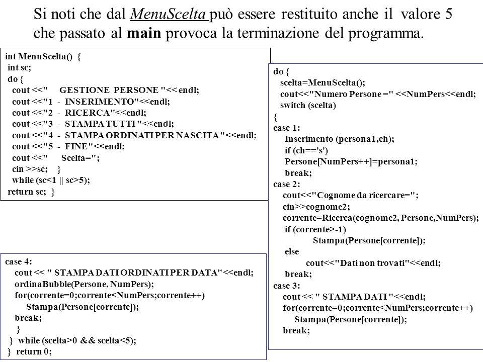 15 Si noti che dal MenuScelta può essere restituito anche il valore 5 che passato al main provoca la terminazione del programma. int MenuScelta() { in