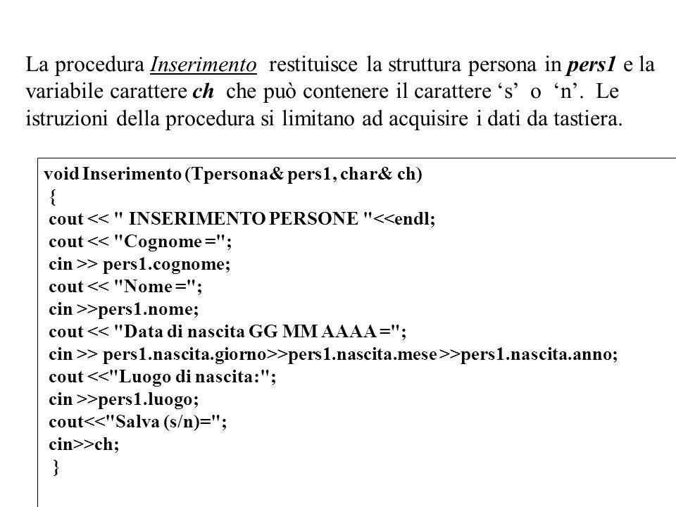 16 La procedura Inserimento restituisce la struttura persona in pers1 e la variabile carattere ch che può contenere il carattere s o n. Le istruzioni
