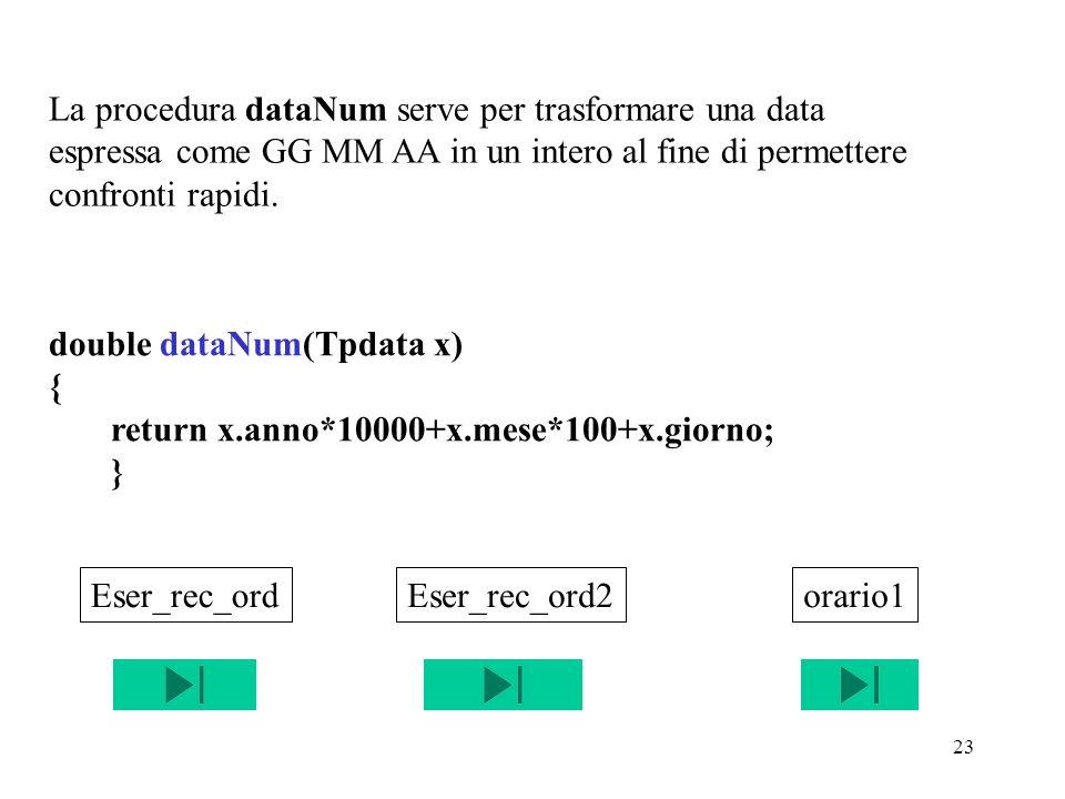 23 double dataNum(Tpdata x) { return x.anno*10000+x.mese*100+x.giorno; } La procedura dataNum serve per trasformare una data espressa come GG MM AA in un intero al fine di permettere confronti rapidi.