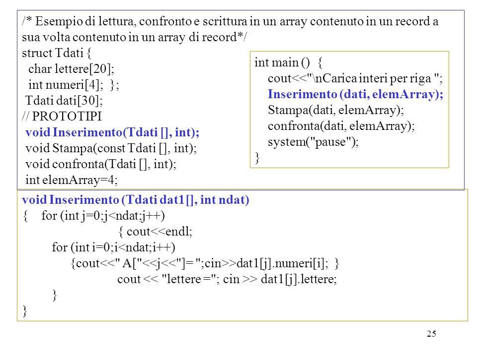 25 /* Esempio di lettura, confronto e scrittura in un array contenuto in un record a sua volta contenuto in un array di record*/ struct Tdati { char l