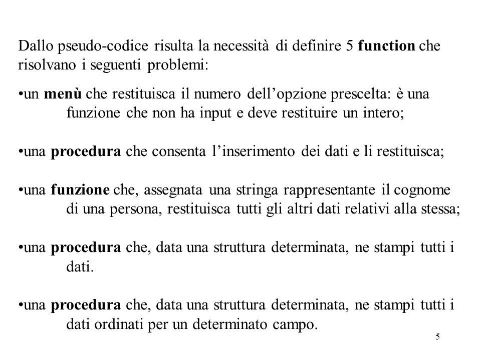 5 Dallo pseudo-codice risulta la necessità di definire 5 function che risolvano i seguenti problemi: un menù che restituisca il numero dellopzione prescelta: è una funzione che non ha input e deve restituire un intero; una procedura che consenta linserimento dei dati e li restituisca; una funzione che, assegnata una stringa rappresentante il cognome di una persona, restituisca tutti gli altri dati relativi alla stessa; una procedura che, data una struttura determinata, ne stampi tutti i dati.